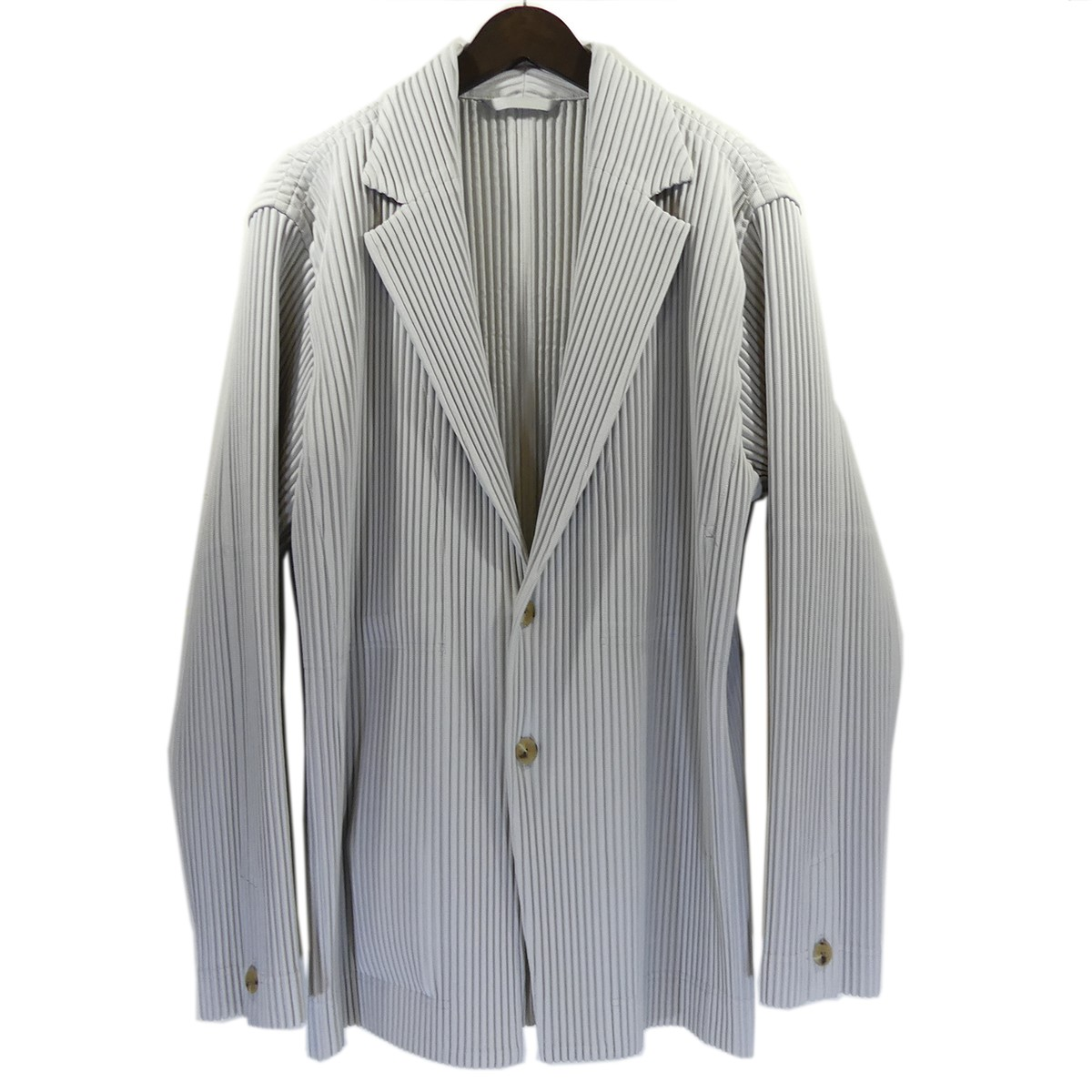 【中古】HOMME PLISSE ISSEY MIYAKEプリーツシングルジャケット ライトグレー サイズ:3 【5月14日見直し】