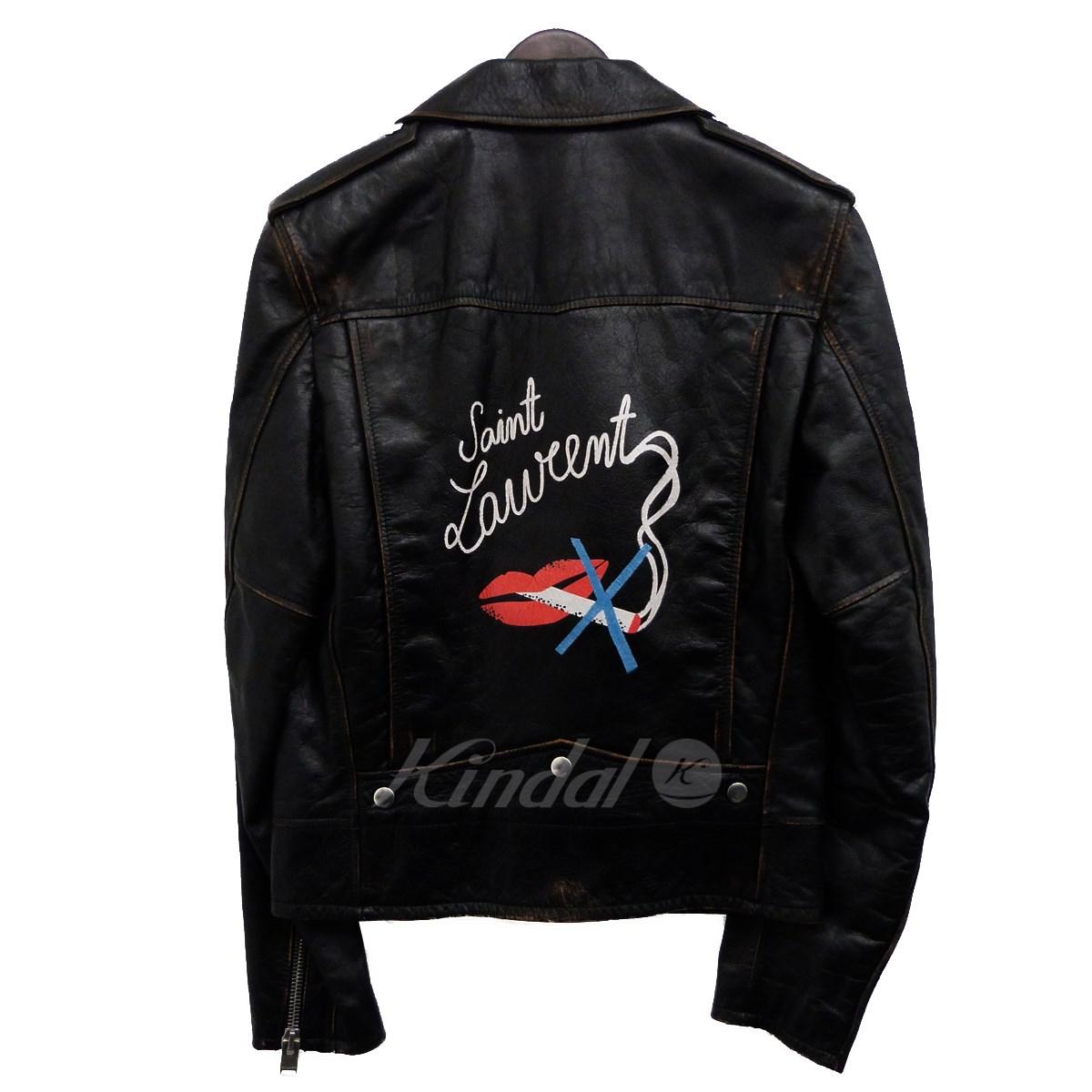 【中古】SAINT LAURENT PARIS バックプリントヴィンテージ加工ライダースジャケット「L01」 ブラック サイズ:44 【120420】(サンローランパリ)