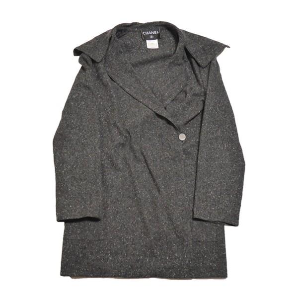 【中古】CHANEL 1B カシミヤ コート ジャケット グレー サイズ:36 【120420】(シャネル)