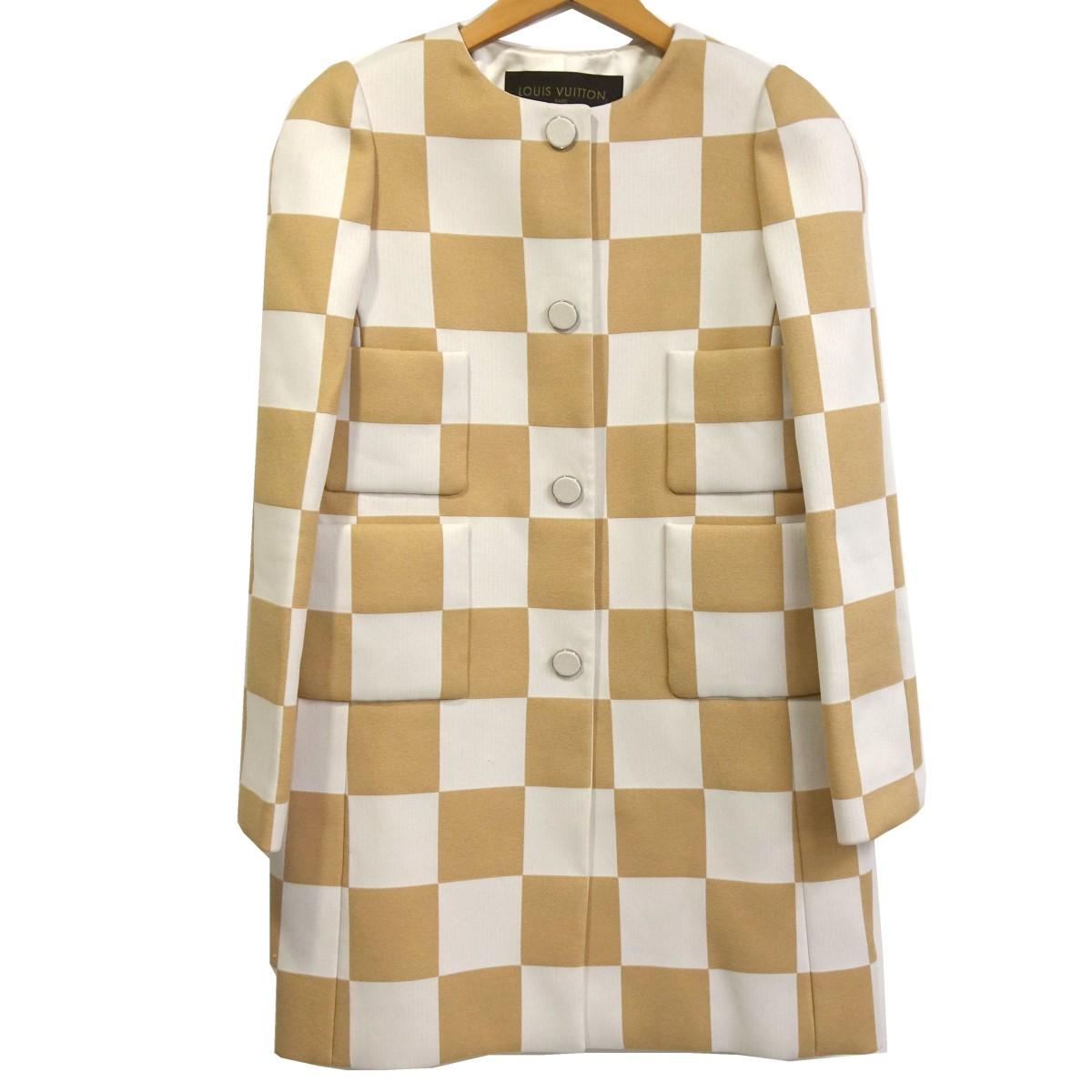 【中古】LOUIS VUITTON 13SS 総柄ノーカラーロングジャケット ホワイト×ベージュ サイズ:34 【130420】(ルイヴィトン)