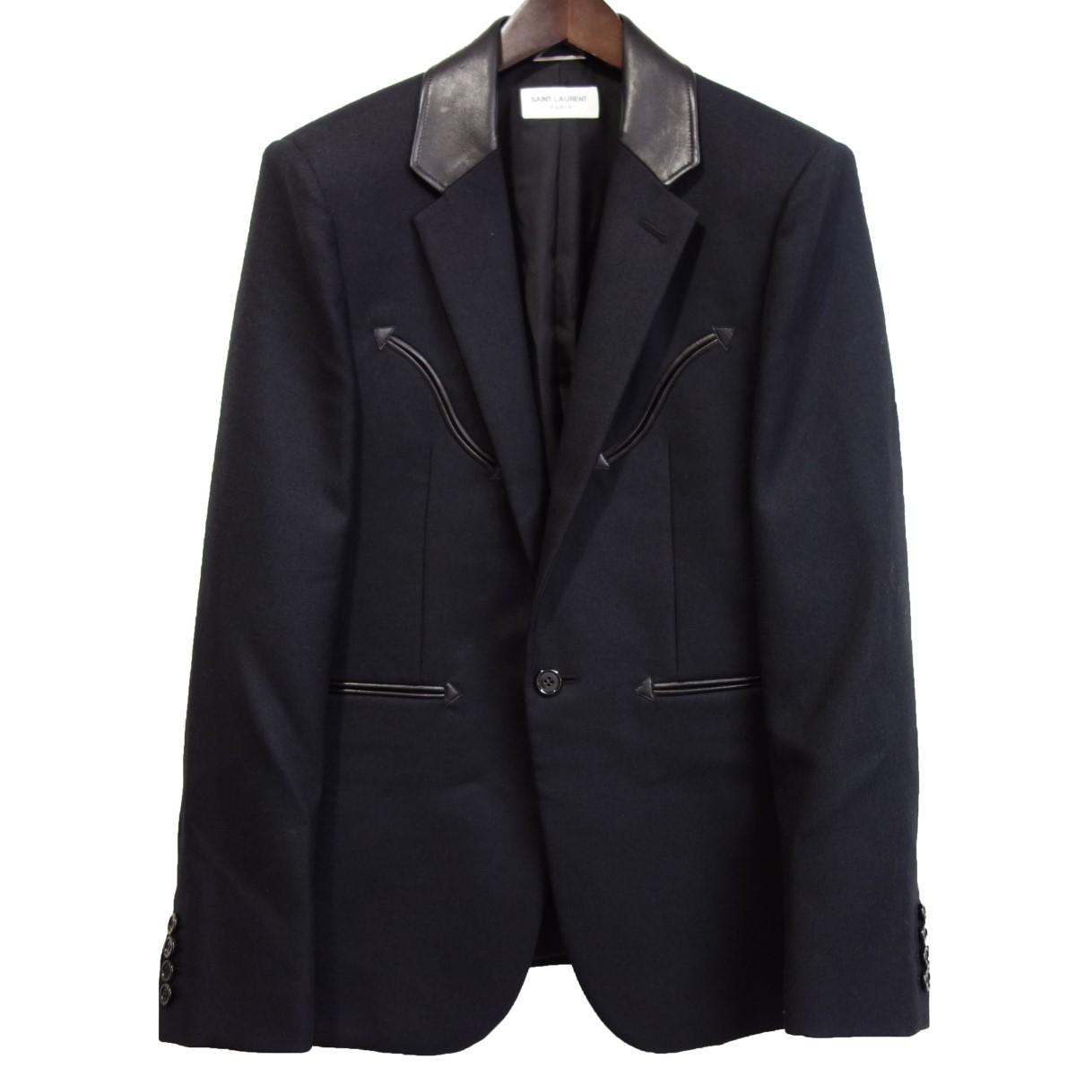 【中古】SAINT LAURENT PARIS 559562 襟レザーパイピング1Bジャケット ブラック サイズ:46 【130420】(サンローランパリ)