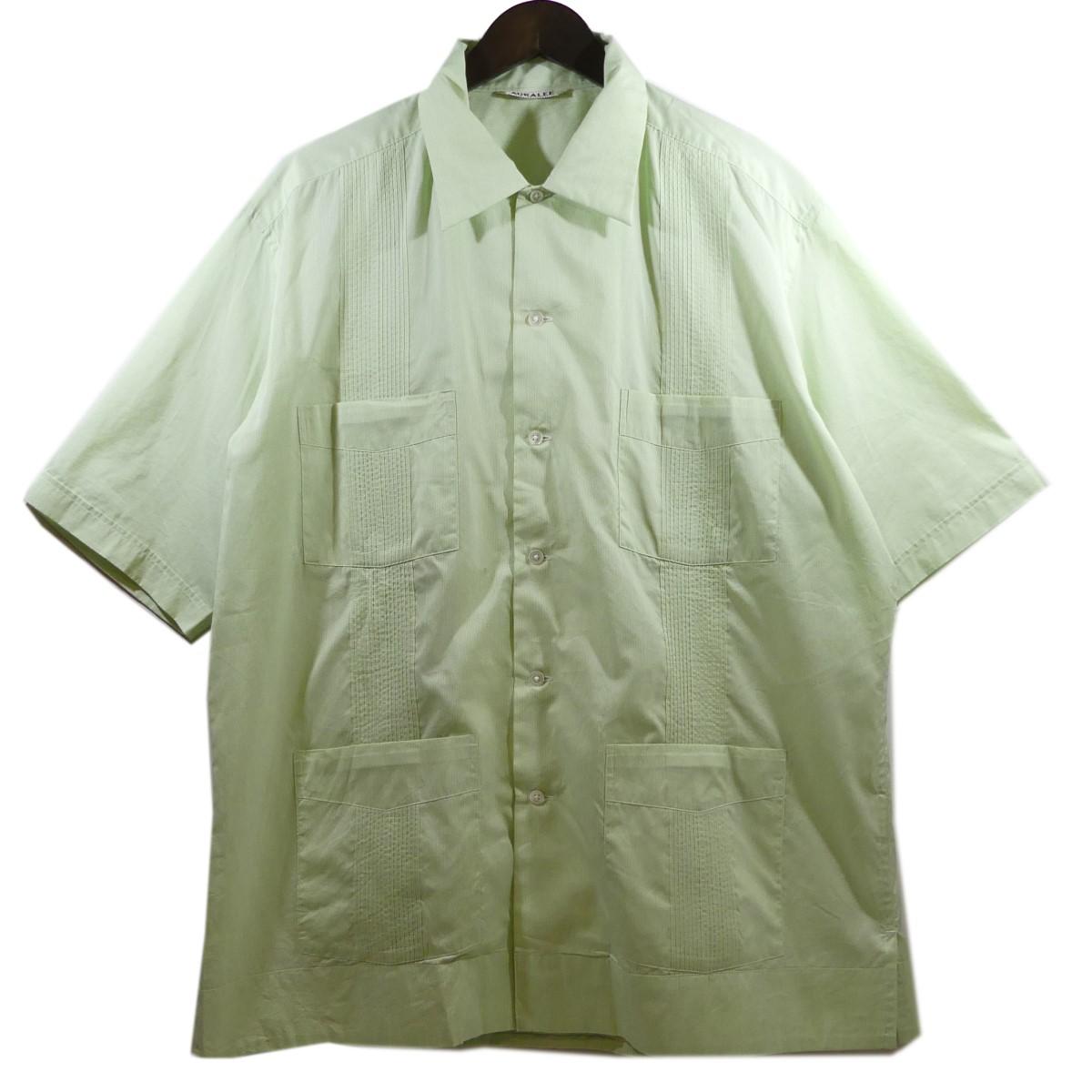 【中古】AURALEE FINX SILK STRIPE CUBA SHIRTS フィンクスシルクストライプキューバシャツ グリーン サイズ:4 【130420】(オーラリー)