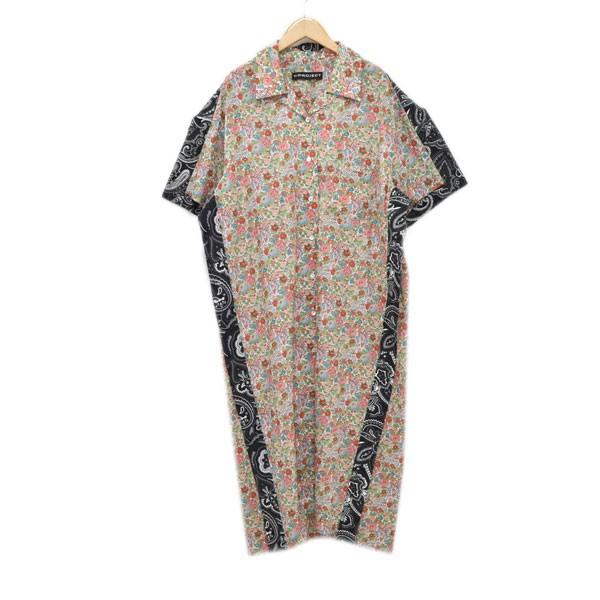 【中古】Y.PRPJECT19SS オープンカラー 半袖ロングシャツコート マルチカラー サイズ:XS 【4月23日見直し】