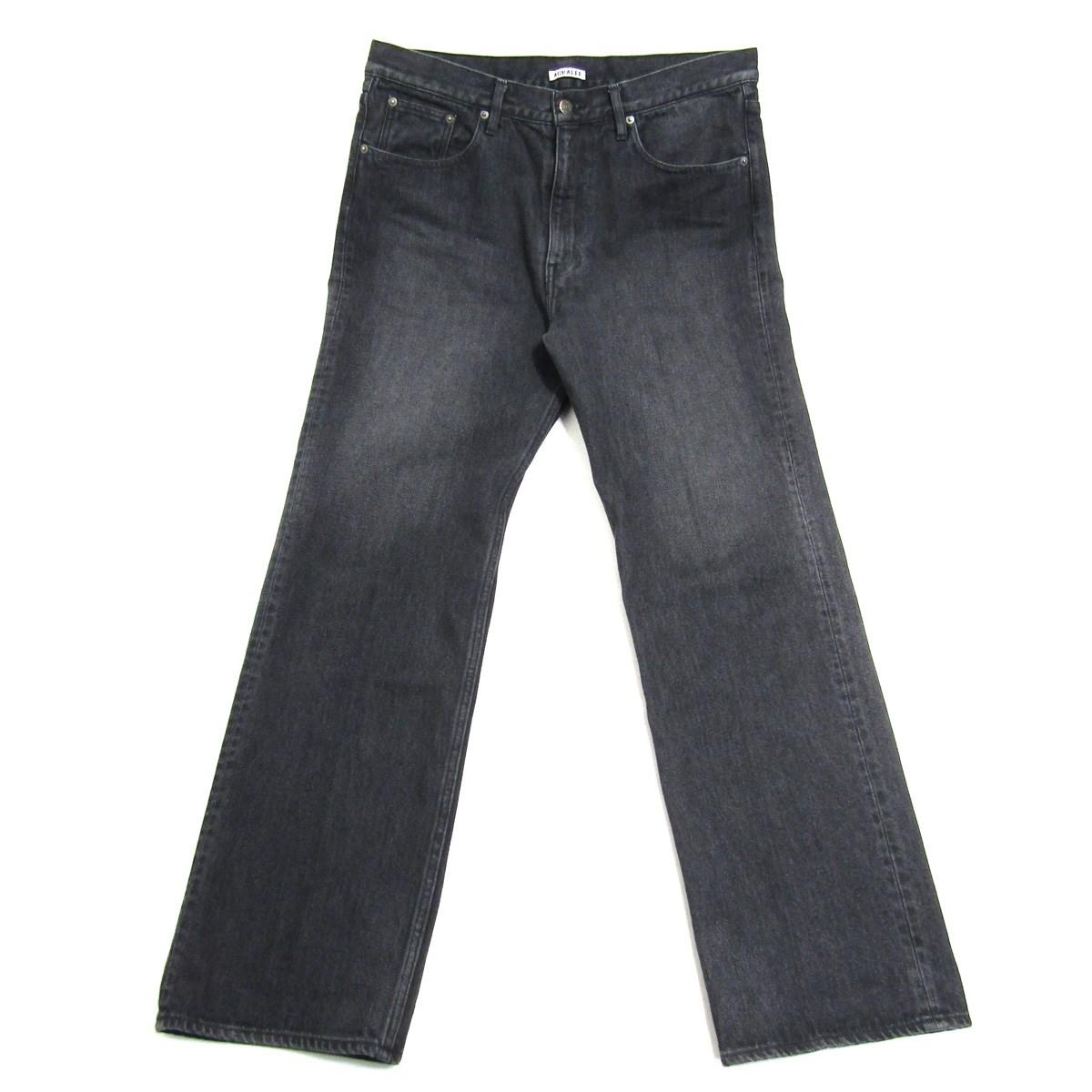 【中古】AURALEE2020SS WASHED HARD TWIST DENIM 5P PANTS ツイストデニムパンツ グレー サイズ:34 【6月26日見直し】