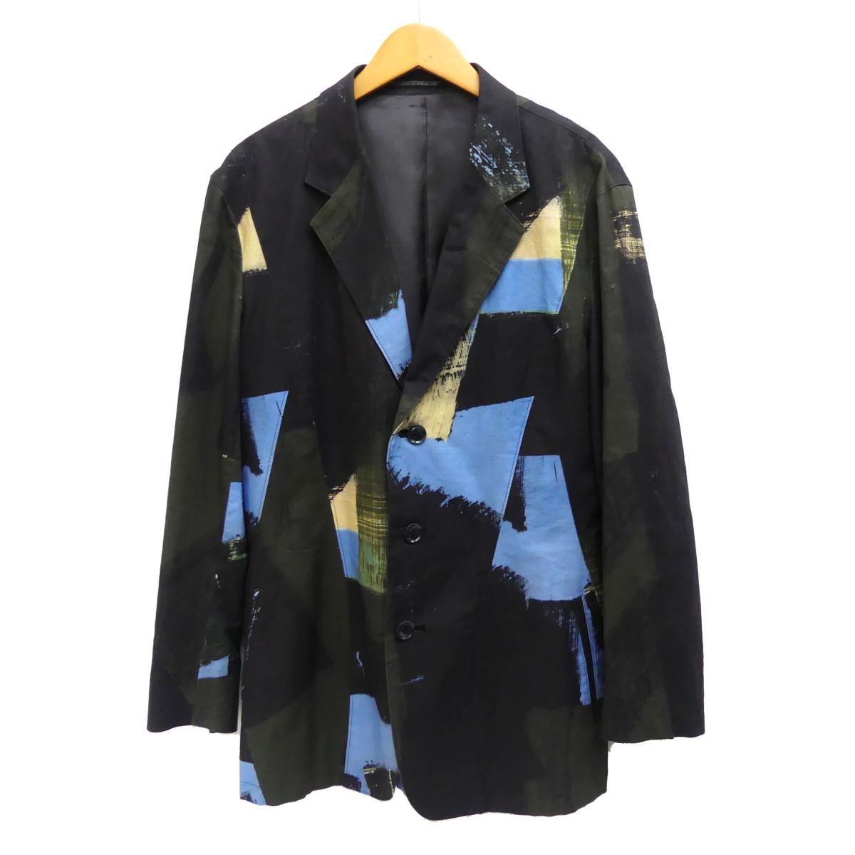 【中古】YOHJI YAMAMOTO 16SS 朝倉優佳ペイントジャケット カーキ×ブルー サイズ:2 【140420】(ヨウジヤマモト)