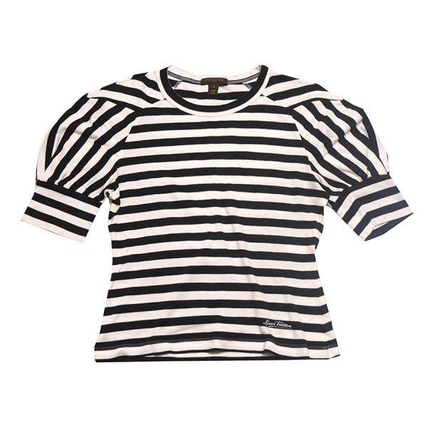 【中古】LOUIS VUITTON パフスリーブ ボーダー カットソー Tシャツ Tee フロントロゴ ブラック×ホワイト サイズ:S 【130420】(ルイヴィトン)