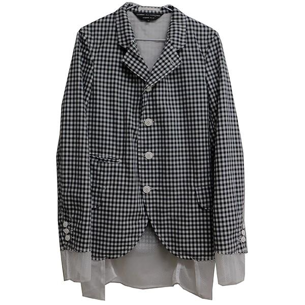 【中古】COMME des GARCONS HOMME PLUS チェックレイヤードジャケット ブラック×ホワイト サイズ:XS 【140420】(コムデギャルソンオムプリュス)