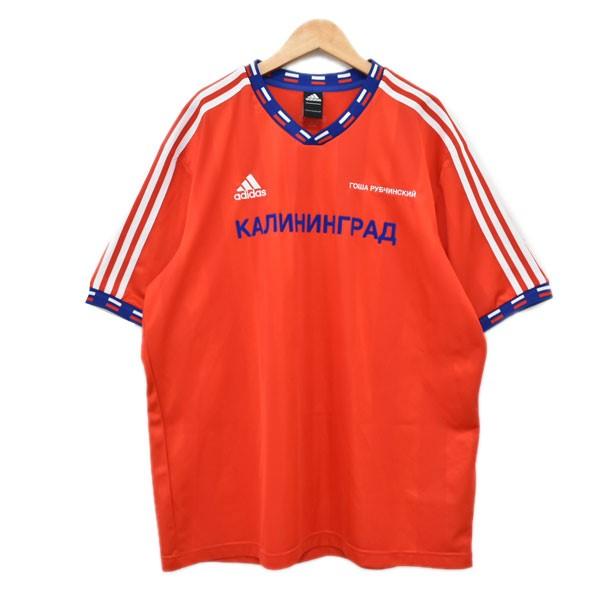 【中古】GOSHA RUBCHINSKIY × adidas FOOTBALL TEE フットボールTシャツ レッド・ネイビー サイズ:L 【150420】(ゴーシャラブチンスキー アディダス)