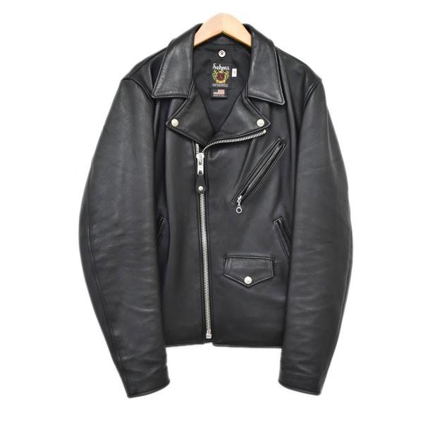 【中古】SCHOTT シープスキン ダブルライダースジャケット ブラック サイズ:38 【150420】(ショット)