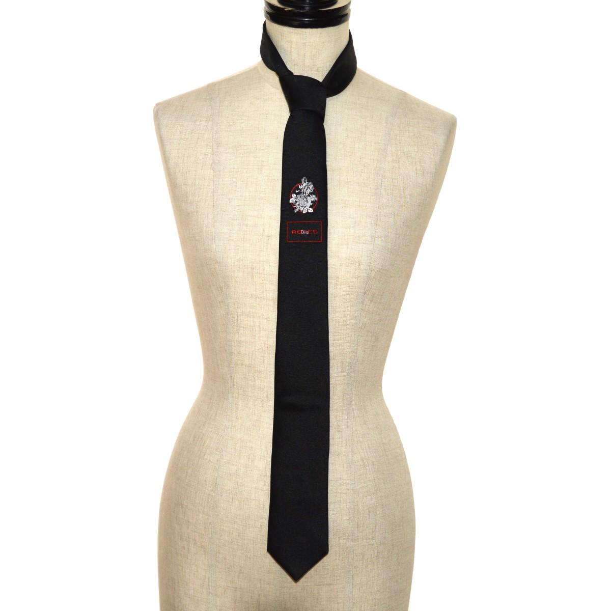 【中古】Dior Homme ROSES tie ネクタイ ブラック 【150420】(ディオールオム)