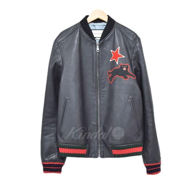 【中古】GUCCI 17クルーズ エンブロイダリーレザーボンバージャケット ブラック サイズ:48 【150420】(グッチ)