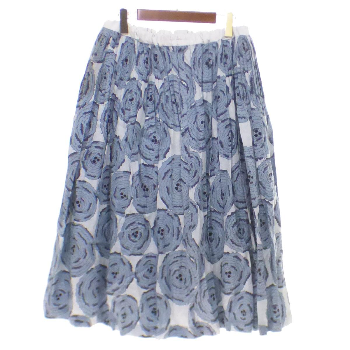 【中古】mina perhonen pirouette ギャザースカート ブルー サイズ:38 【150420】(ミナペルホネン)