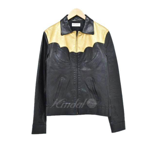 【中古】SAINT LAURENT PARIS シングルライダースジャケット ブラック×ゴールド サイズ:46 【150420】(サンローランパリ)
