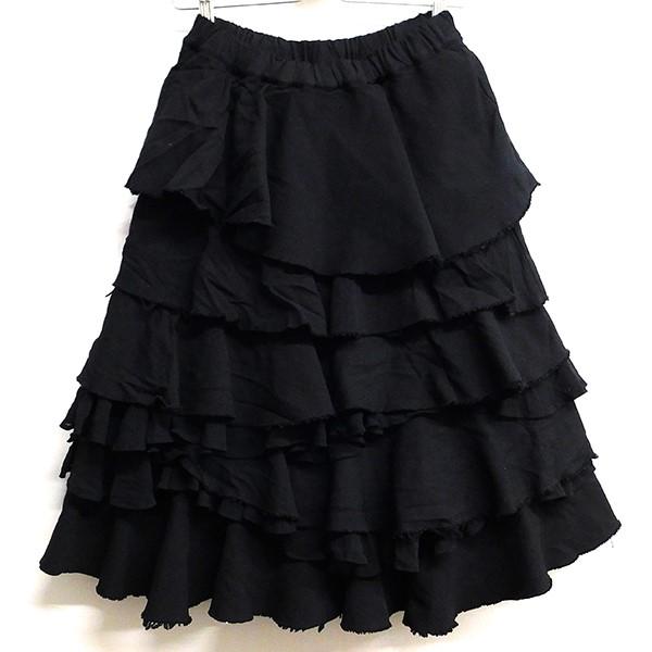 【中古】COMME des GARCONS COMME des GARCONS ポリ縮絨カットオフ加工フリルスカート ブラック サイズ:XS 【150420】(コムデギャルソンコムデギャルソン)