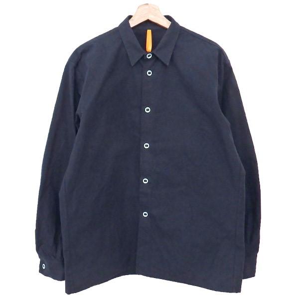 【中古】MAN-TLE パラフィンワックス 長袖シャツ ネイビー サイズ:S 【150420】(マントル)