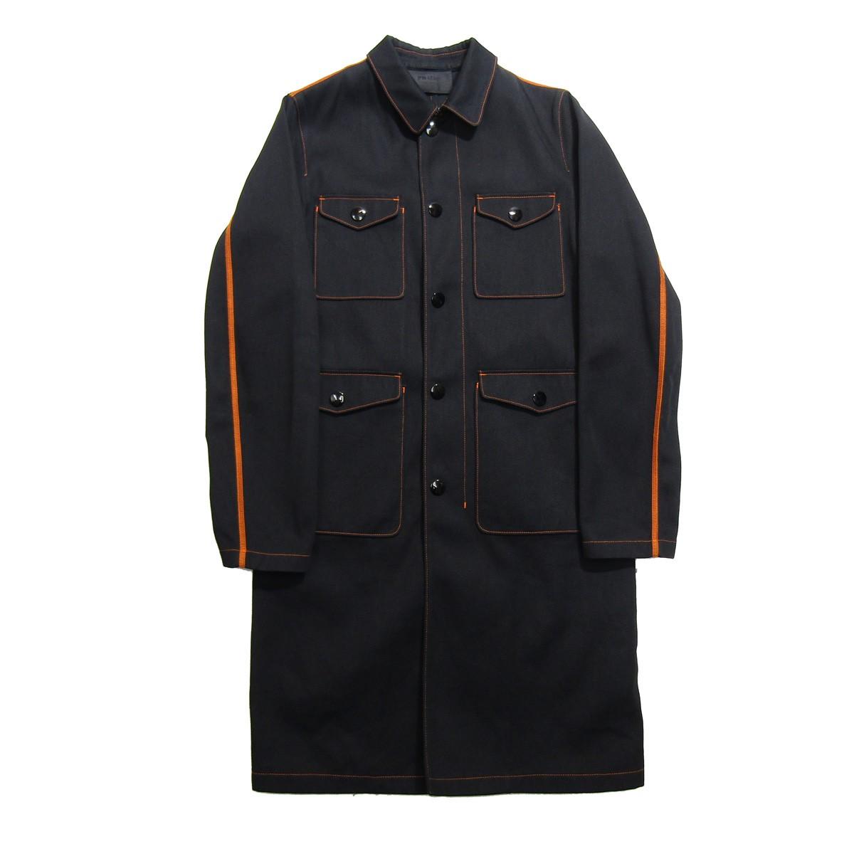 【中古】PRADA 2017SS オレンジステッチスナップワークコート ブラック サイズ:44 【150420】(プラダ)