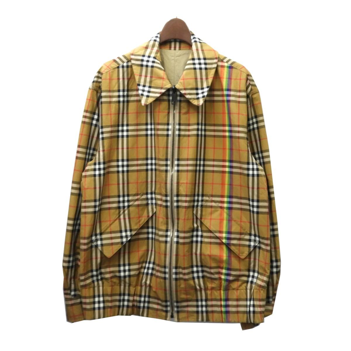 【中古】BURBERRYレインボーチェックリバーシブルジップジャケット ベージュ サイズ:M 【4月16日見直し】