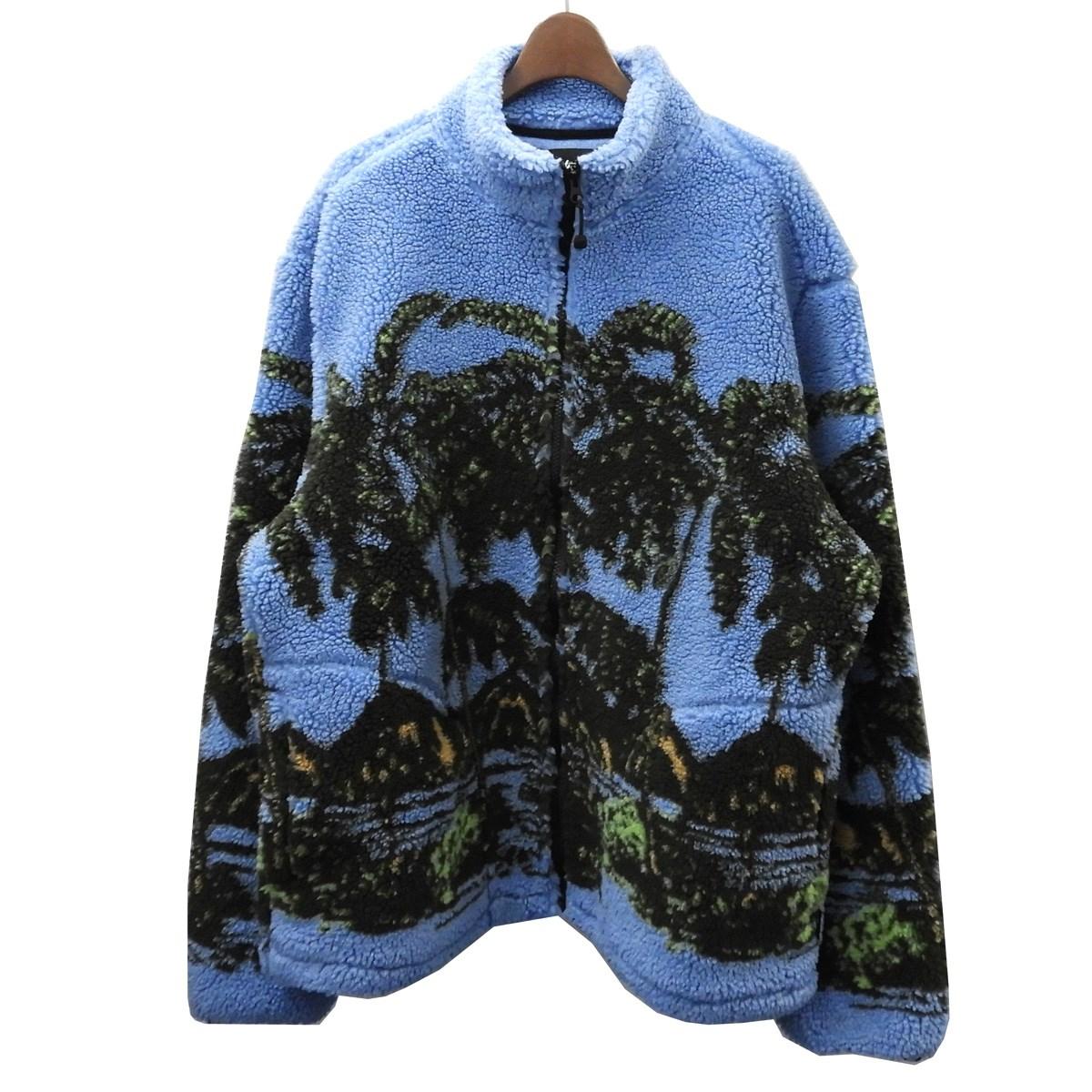 【中古】Stussy 「HAWAIIAN JACQUARD MOCK」ハワイアンジャガードフリースジャケット ブルー サイズ:L 【160420】(ステューシー)