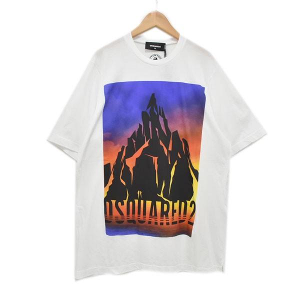 【中古】DSQUARED2 19AW プリントTシャツ ホワイト サイズ:XS 【160420】(ディースクエアード)