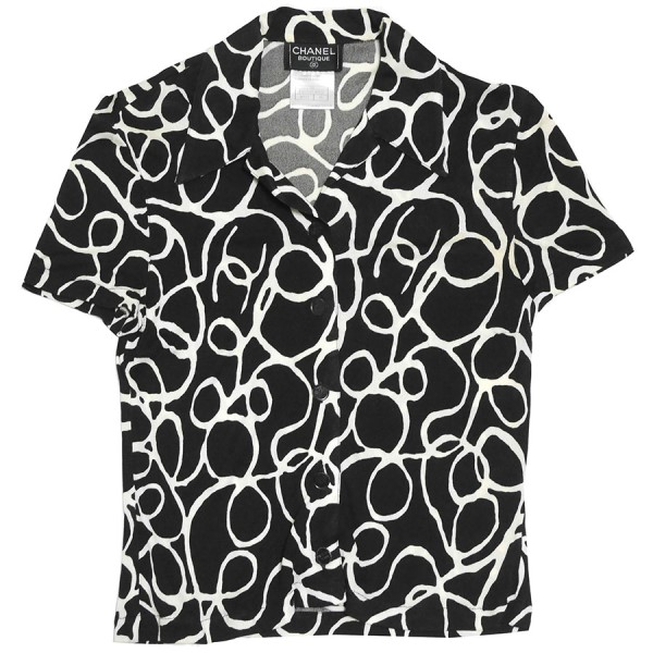 【中古】CHANEL ココマーク 総柄 ショート スリーブ ブラウス 半袖 オープン カラー シャツ ブラック サイズ:38 【150420】(シャネル)