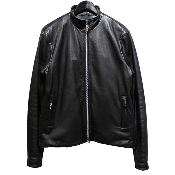 【中古】CHROME HEARTS PRFCT LTHR VJ TCSH LND パーフェクト シングルライダースジャケット ブラック サイズ:L 【150420】(クロムハーツ)