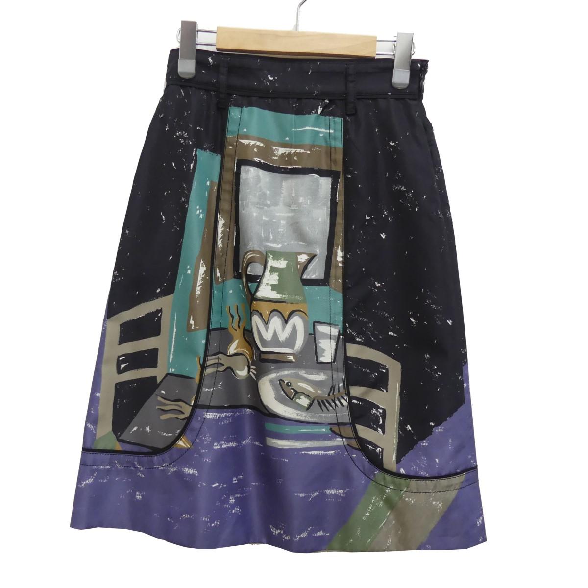 【中古】PRADA 総柄 スカート ブラック サイズ:36 【160420】(プラダ)