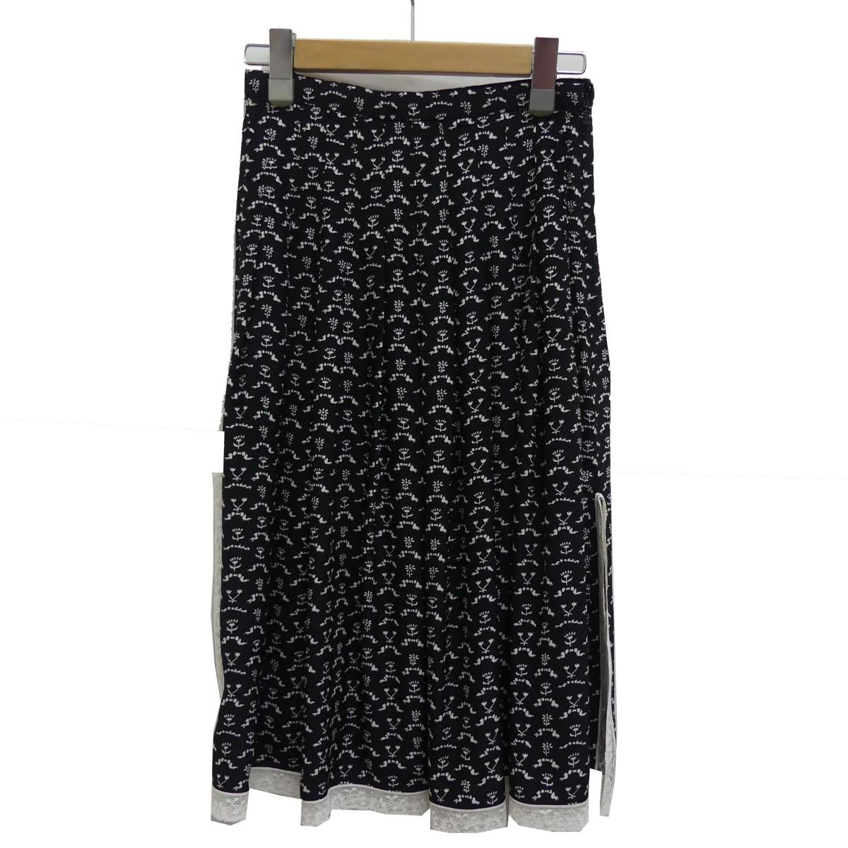 【中古】Chloe 総柄 スカート ブラック サイズ:34 【160420】(クロエ)