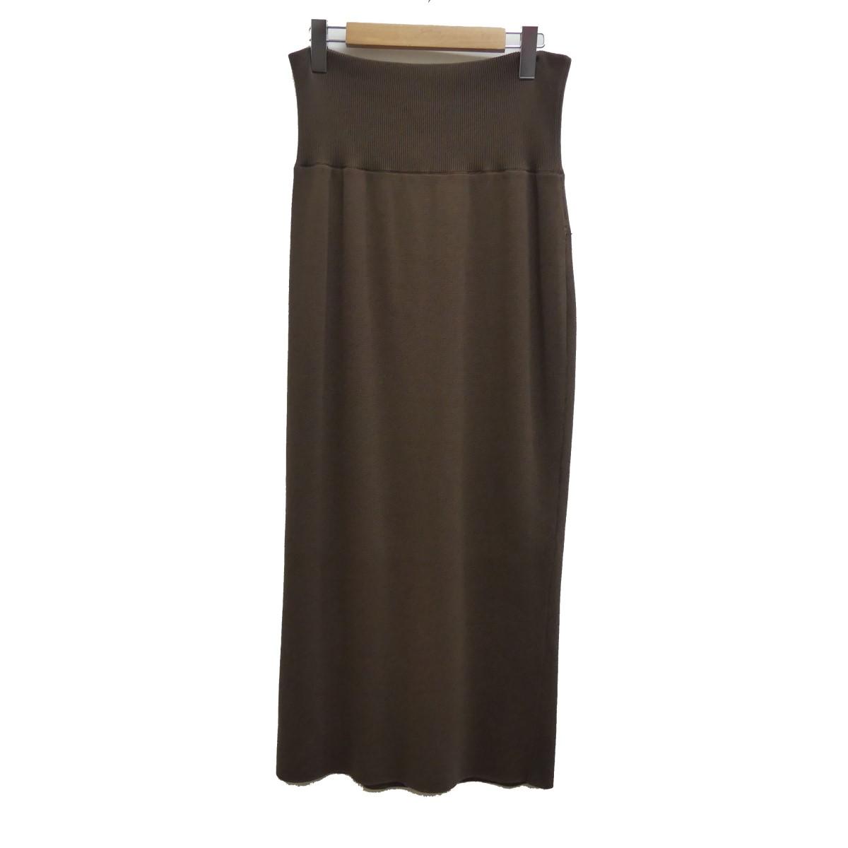 【中古】DEUXIEME CLASSE 2019SS ハーフリブニットスカート ブラウン サイズ:38 【160420】(ドゥーズィエムクラス)