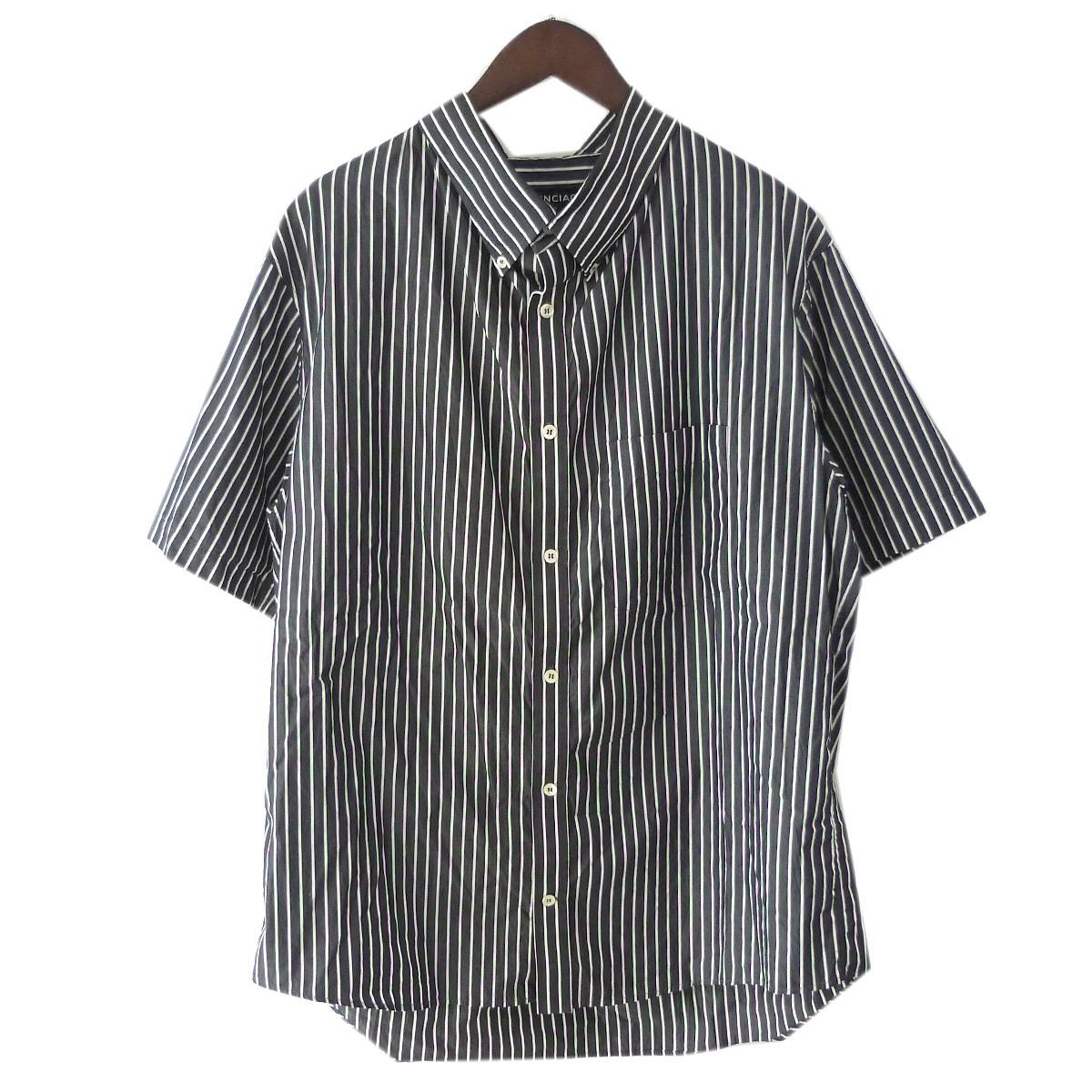 【中古】BALENCIAGA 18SS プロフィールカラーストライプシャツ ブラック×ホワイト サイズ:38 【160420】(バレンシアガ)