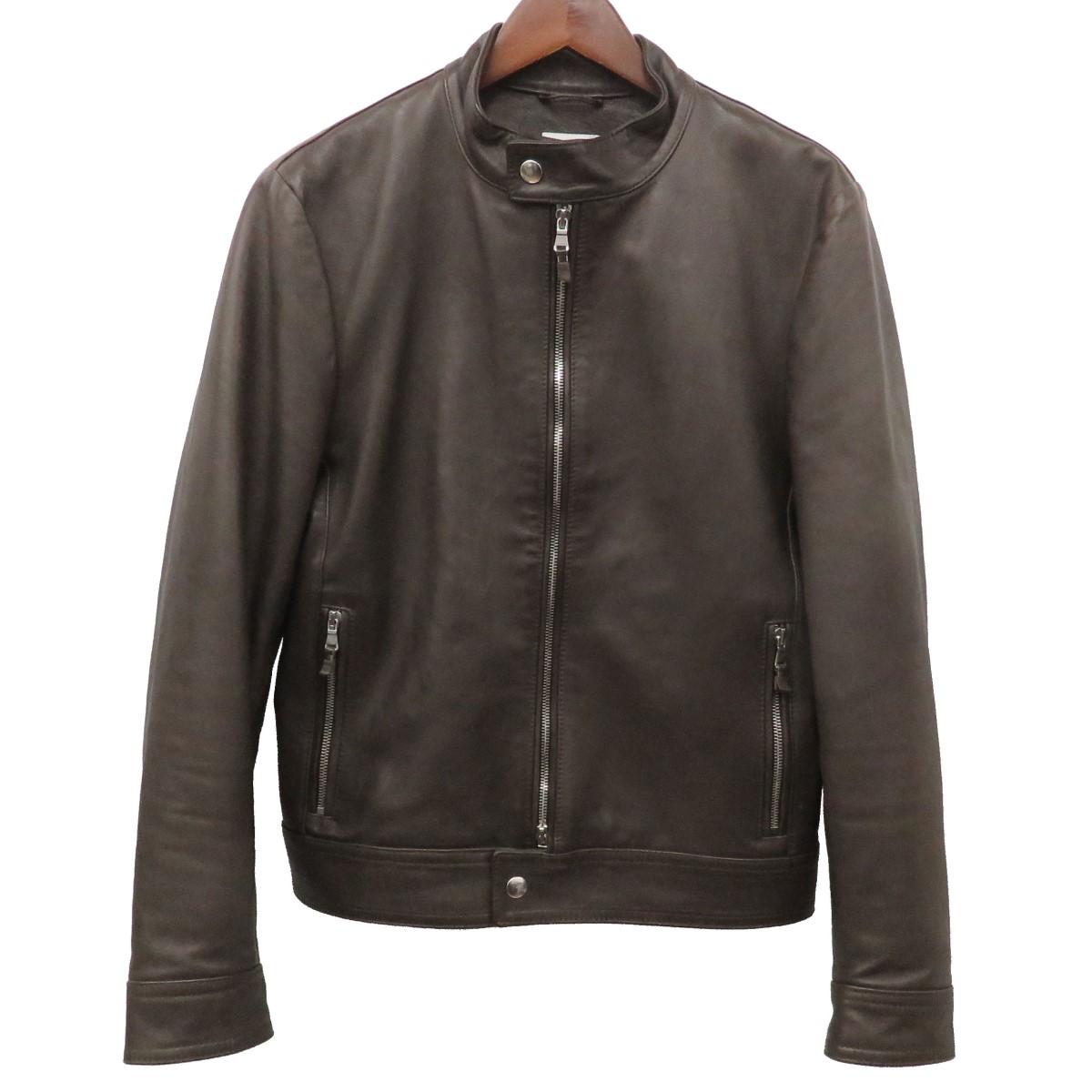 【中古】EMMETI ANDREA シングルライダースジャケット 中綿レザーブルゾン ブラウン サイズ:44 【160420】(エンメティ)