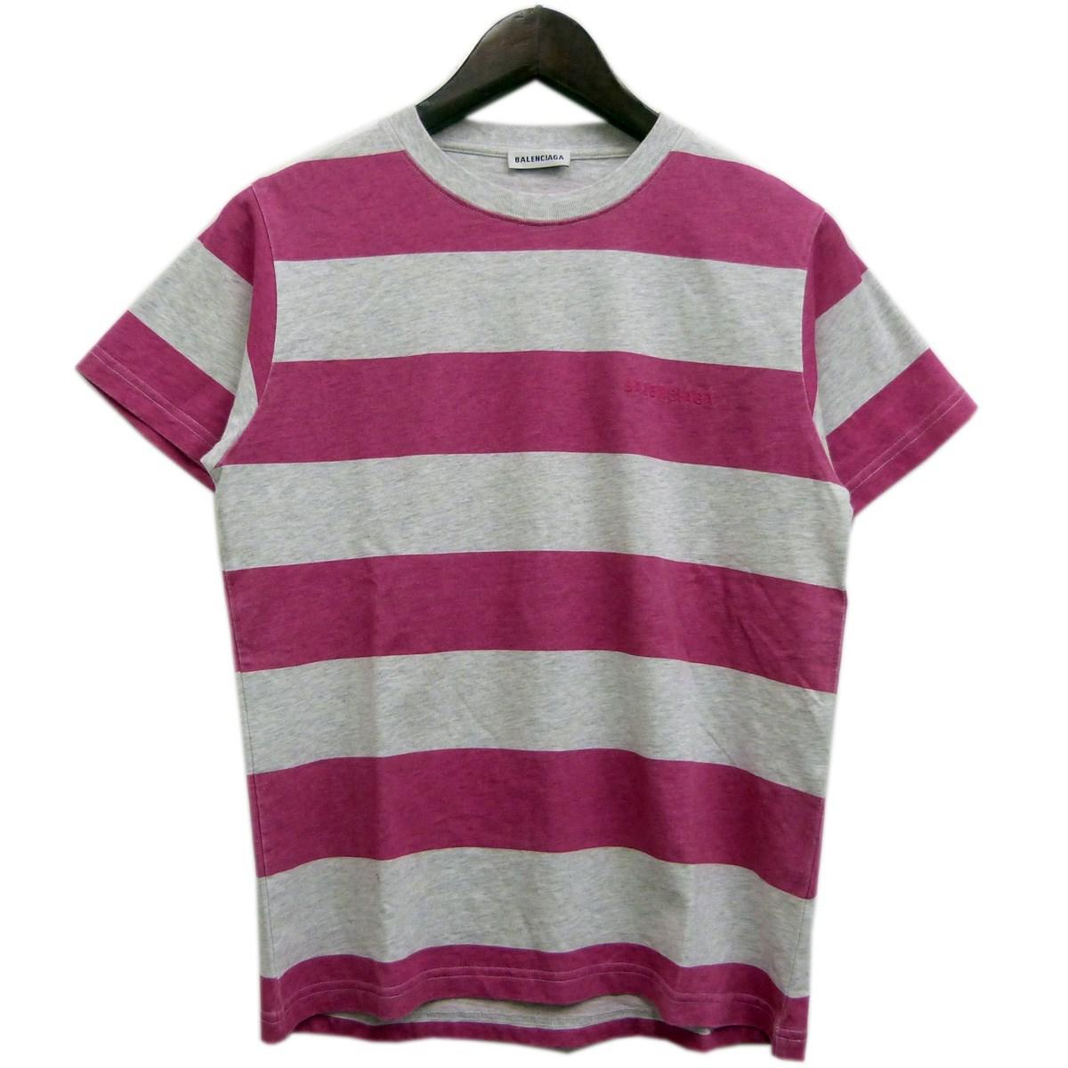 【中古】BALENCIAGA 18SS バックロゴボーダーTシャツ ピンク×グレー サイズ:M 【160420】(バレンシアガ)