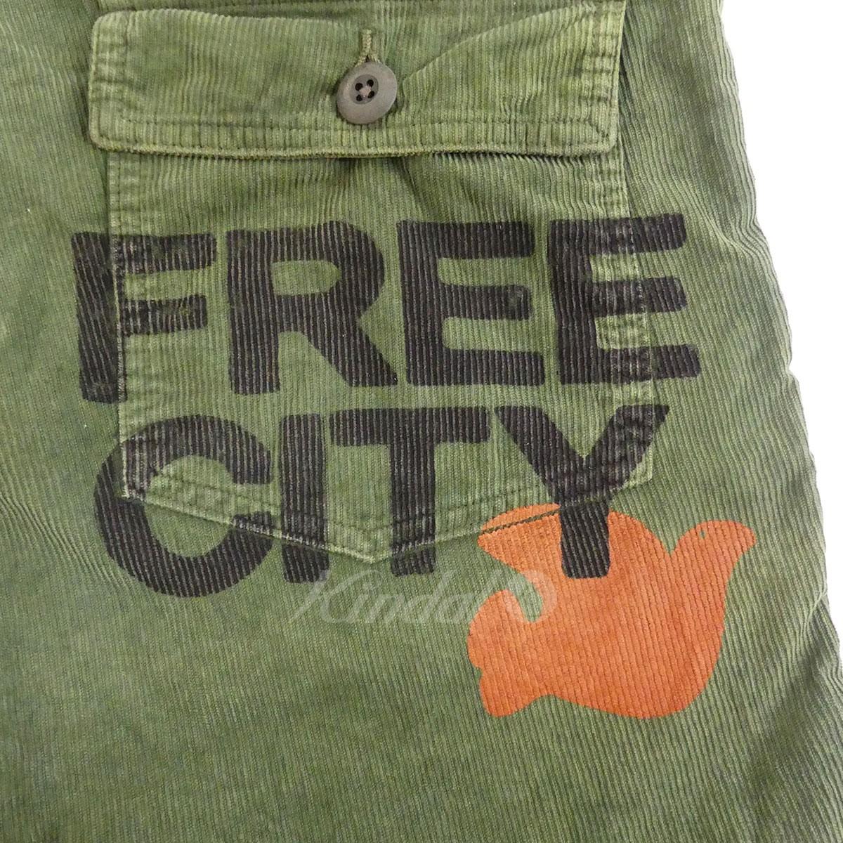 FREE CITY ベイカーショーツパンツ コーデュロイ USED加工 グリーン サイズ 34160420フリーシティNwn0Oyvm8