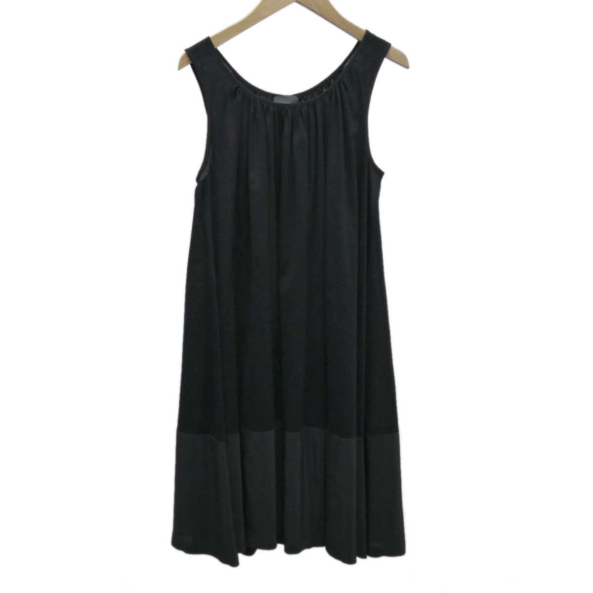 【中古】FENDI ノースリーブワンピース コットン×シルク ブラック サイズ:42 【160420】(フェンディ)