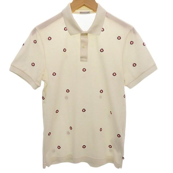 【中古】MONCLER 総柄半袖ポロシャツ ホワイト サイズ:S 【160420】(モンクレール)