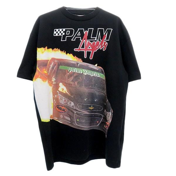【中古】Palm Angels RACE CARプリントTシャツ ブラック サイズ:L 【160420】(パーム・エンジェルス)