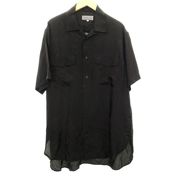 【中古】YOHJI YAMAMOTO pour homme オープンカラーシャツ ブラック サイズ:3 【160420】(ヨウジヤマモトプールオム)