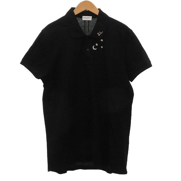 【中古】SAINT LAURENT PARIS 半袖ポロシャツ ブラック サイズ:L 【160420】(サンローランパリ)