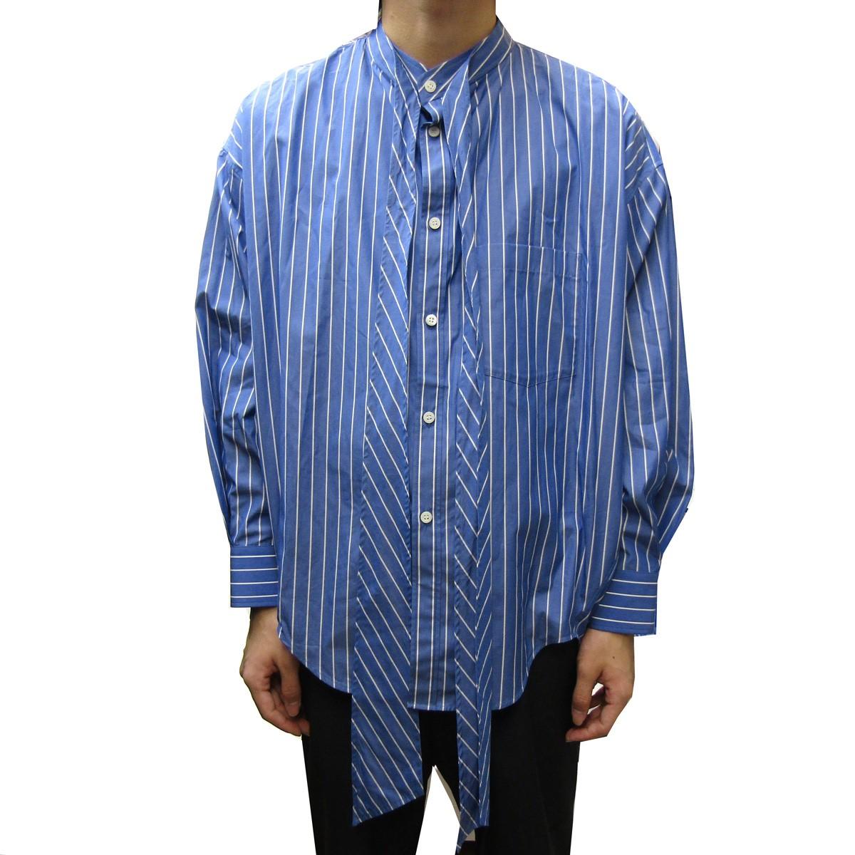 【中古】BALENCIAGA 2018AW バックロゴスウィングカラービッグシルエットロングシャツ ブルー サイズ:32 【160420】(バレンシアガ)