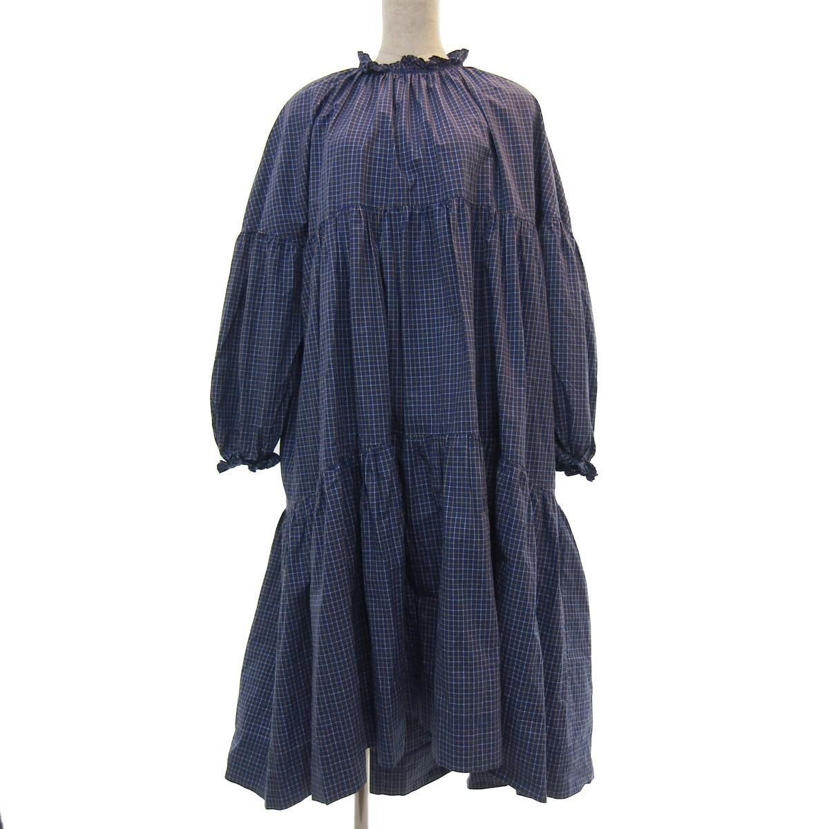 【中古】IRENE 19AW Check Tiered Tent Dress ワンピース ブルー サイズ:36 【160420】(アイレネ)