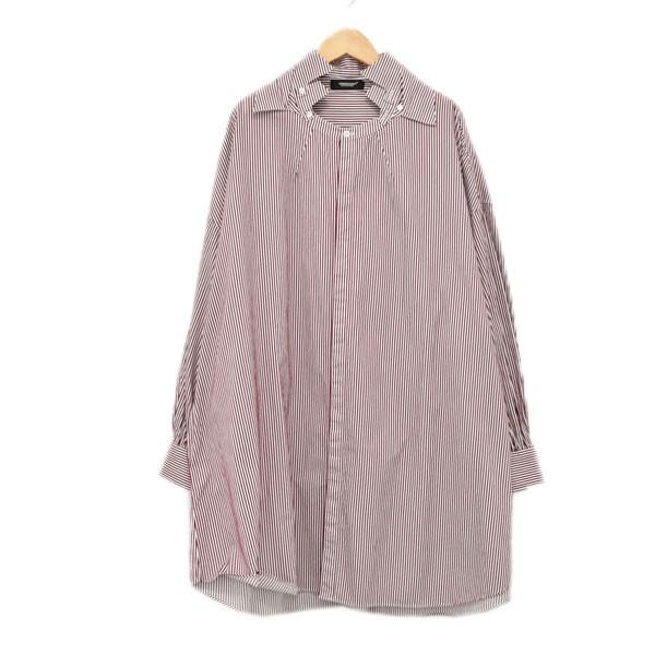 【中古】UNDER COVER 19SS 衿カスタムBIGシャツ UCW1406-1 レッド・ホワイト サイズ:2 【170420】(アンダーカバー)