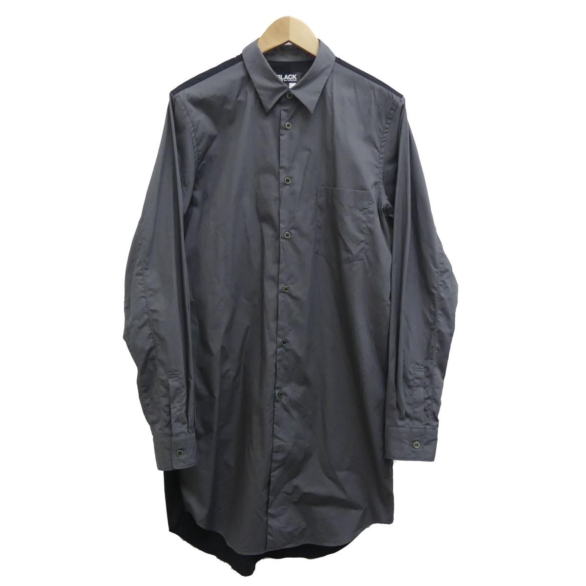 【中古】BLACK COMME des GARCONS 20SS バイカラー切替ロングシャツ ブラック×グレー サイズ:L 【170420】(ブラックコムデギャルソン)