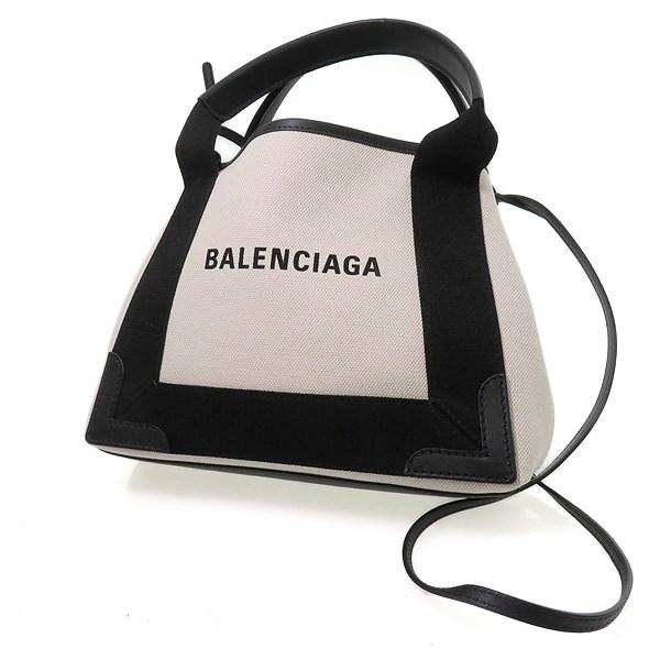 【中古】BALENCIAGA カバXS 2WAYキャンバスショルダーバッグ アイボリー×ブラック 【170420】(バレンシアガ)