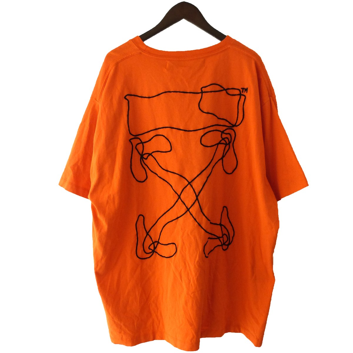 【中古】OFF-WHITE 19AW「ABSTRACT ARROWS OVER TEE」 刺繍オーバーTシャツ オレンジ サイズ:XL 【170420】(オフホワイト)