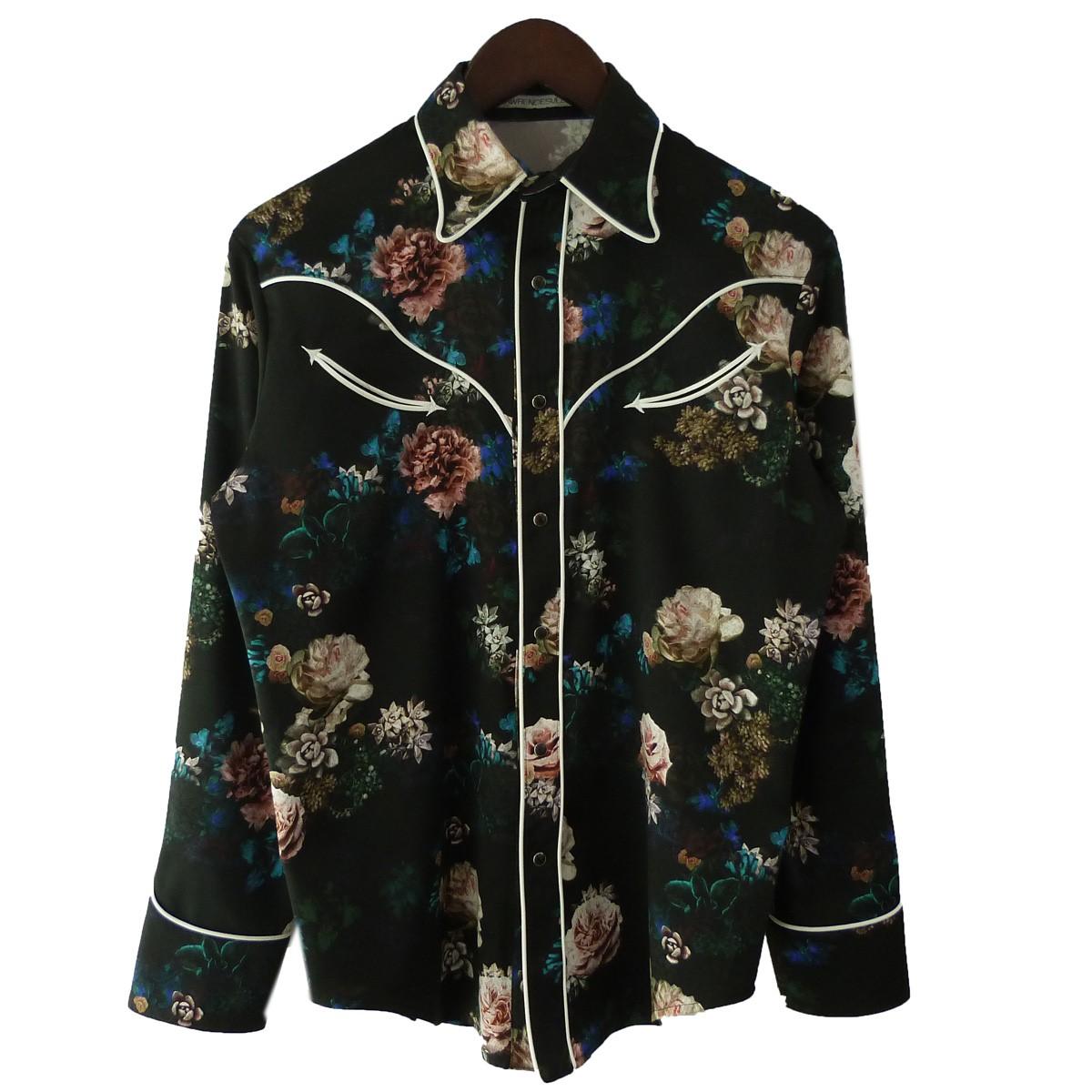 【中古】JOHN LAWRENCE SULLIVAN フラワーカウボーイシャツ ブラック サイズ:S 【170420】(ジョンローレンスサリバン)