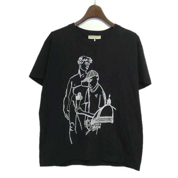 【中古】EMILIO PUCCI 刺繍デザインクルーネックTシャツ ブラック サイズ:S 【170420】(エミリオプッチ)