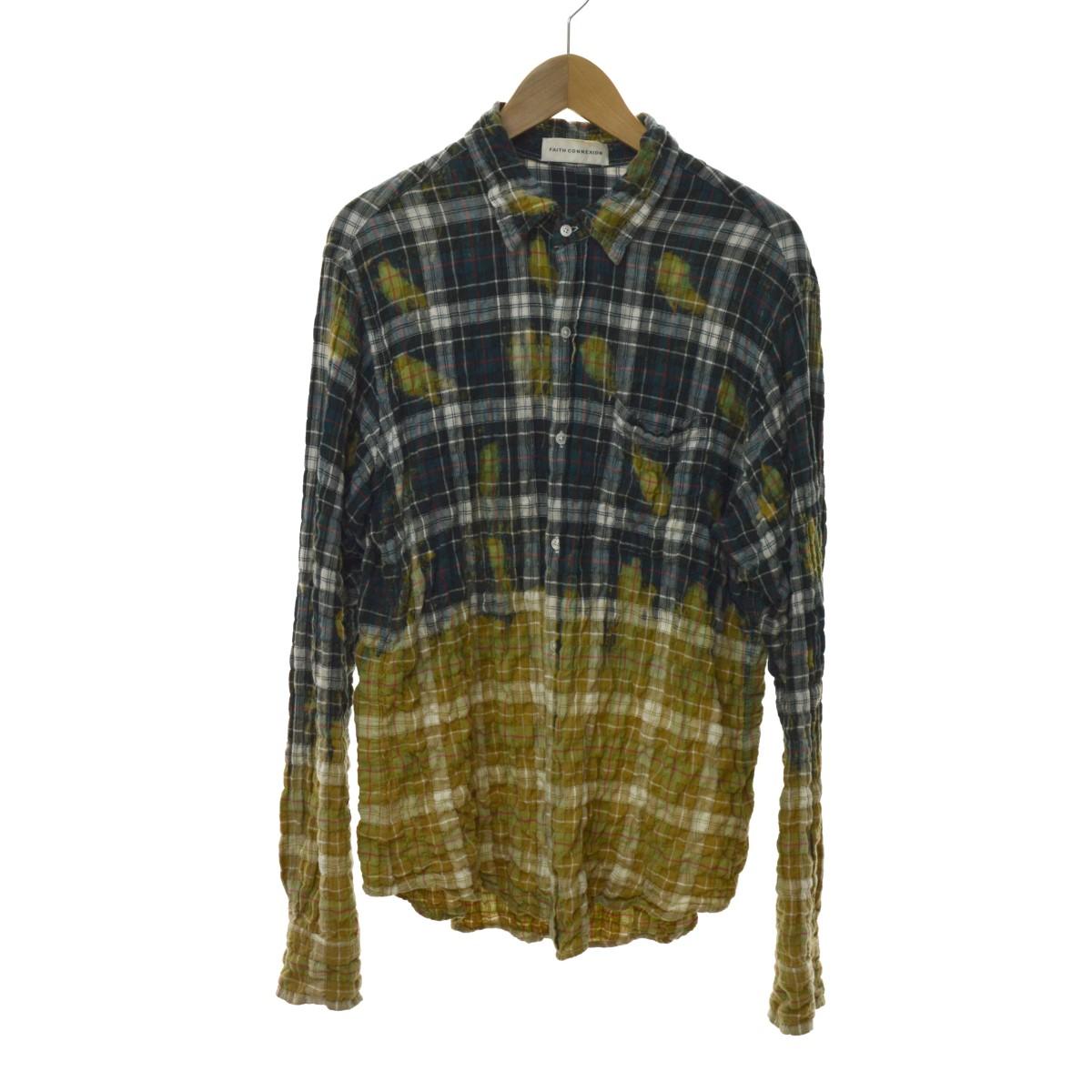 【中古】Faith Connexion Check loose Shirt チェックシャツ グリーン×ベージュ サイズ:S 【170420】(フェイスコネクション)