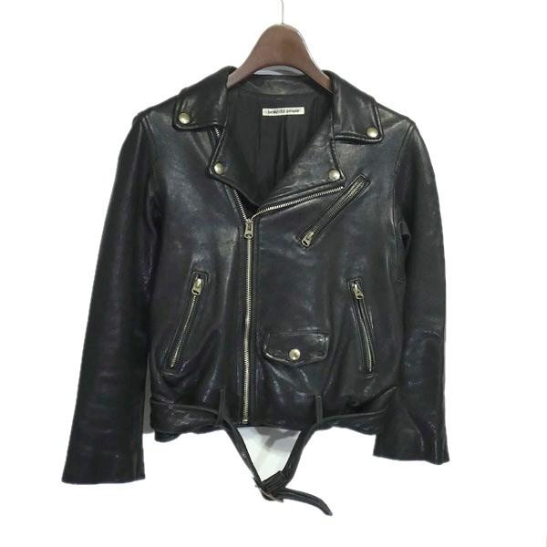 【中古】beautiful people 「shrink leather riders」ダブルライダースジャケット ブラック サイズ:140cm 【170420】(ビューティフルピープル)