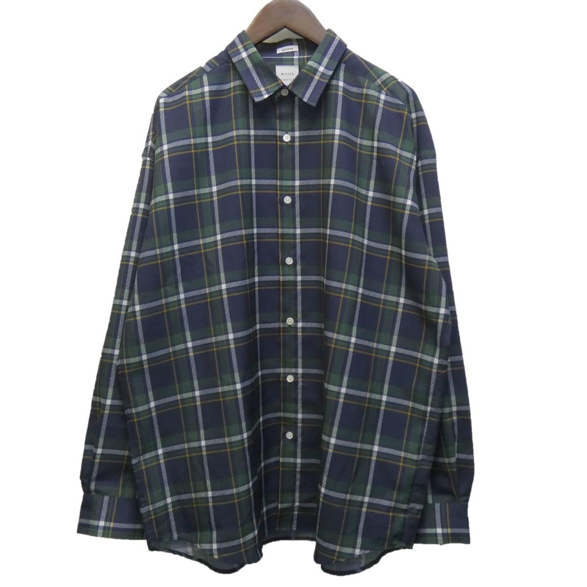 【中古】MR.GENTLEMAN 20SS 「MADRAS CHECK MODERN SHIRT」 チェックシャツ グリーン×ネイビー サイズ:XL 【170420】(ミスタージェントルマン)