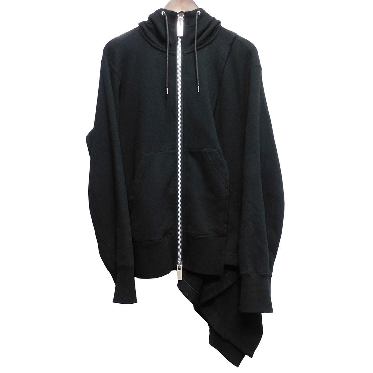 【中古】sacai 19SS アシンメトリージップアップパーカー ブラック サイズ:3 【170420】(サカイ)