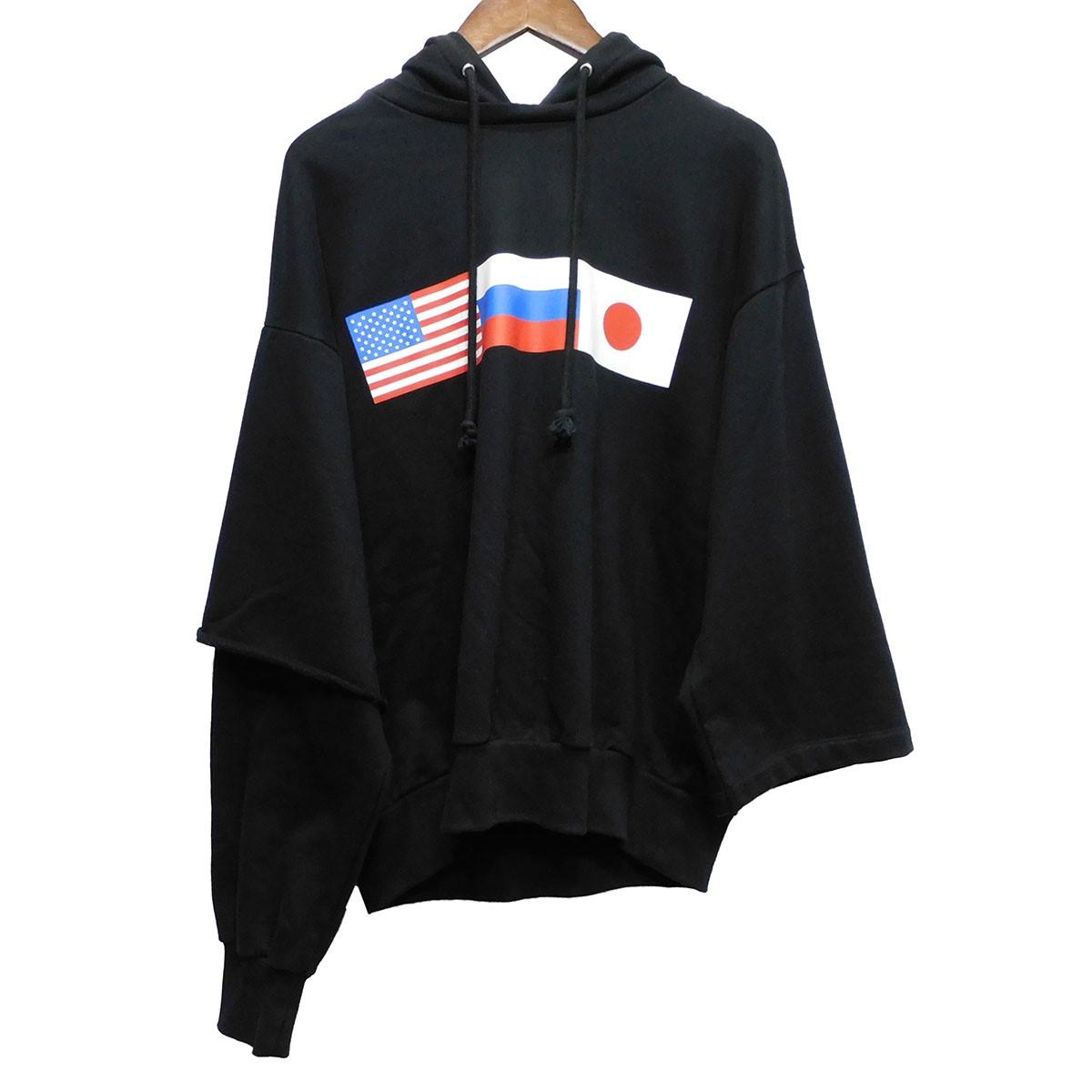 【中古】Gosha Rubchinskiy 18AW プリントプルオーバーパーカー ブラック サイズ:S 【170420】(ゴーシャラブチンスキー)